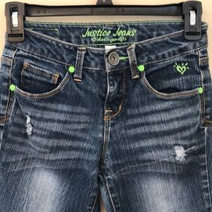 Justice girls distressed denim jeans size 10R